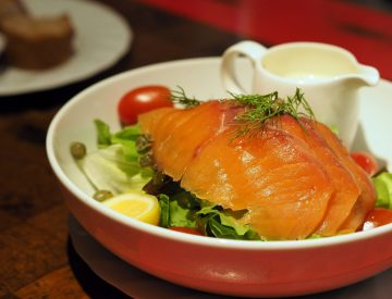 Salad with house smoked salmon